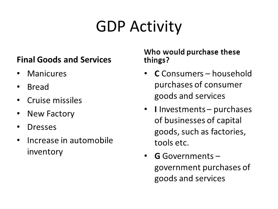 GDP Activity Final Goods and Services Manicures Bread Cruise missiles