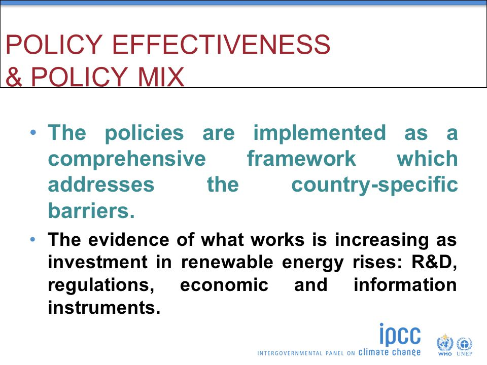 POLICY EFFECTIVENESS & POLICY MIX