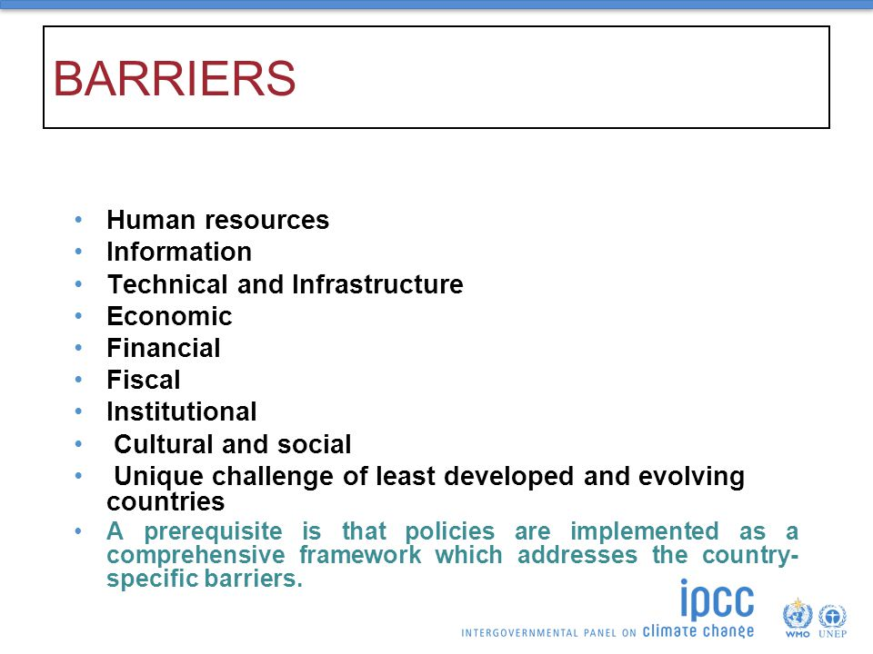 BARRIERS Human resources Information Technical and Infrastructure