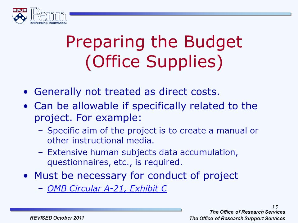 Preparing The Budget Office Supplies