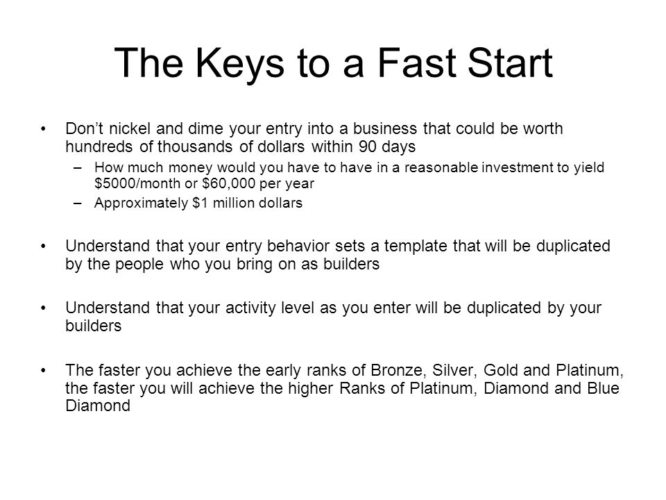 The Keys to a Fast Start Don't nickel and dime your entry into a business that could be worth hundreds of thousands of dollars within 90 days.