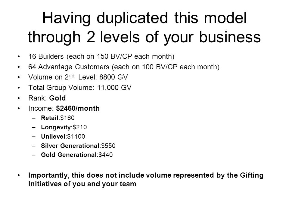 Having duplicated this model through 2 levels of your business