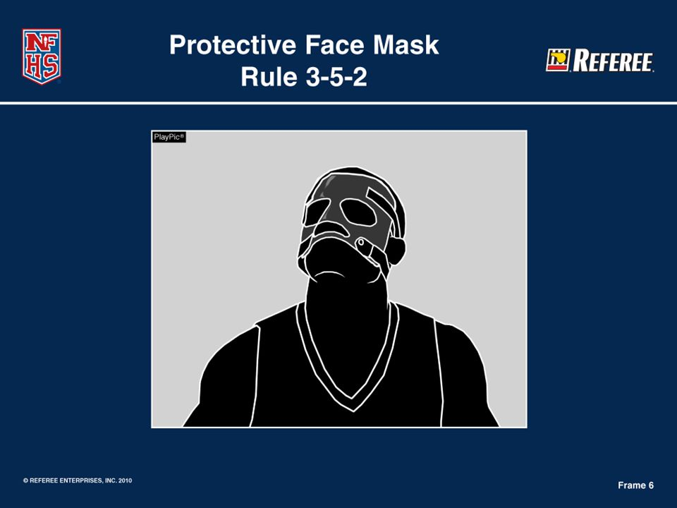 Image illustrates a legal face mask