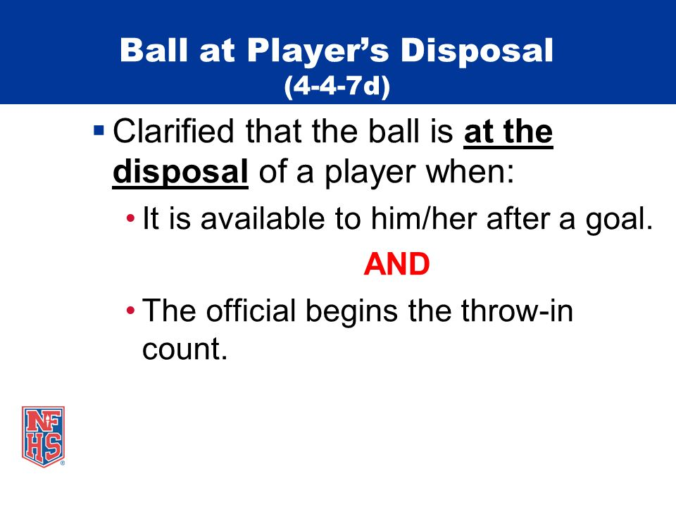 Ball at Player's Disposal (4-4-7d)