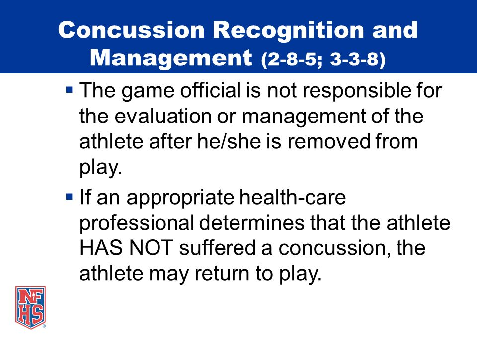 Concussion Recognition and Management (2-8-5; 3-3-8)
