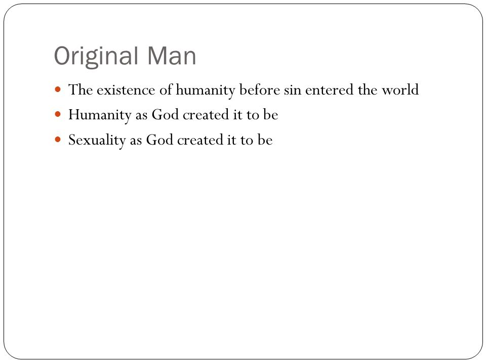 Original Man The existence of humanity before sin entered the world