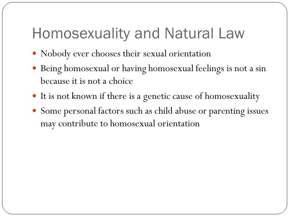 Homosexuality and Natural Law