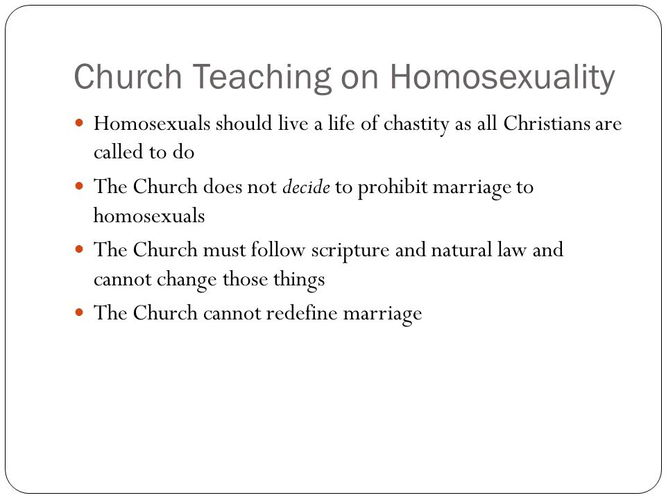 Church Teaching on Homosexuality
