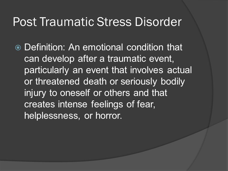 thesis for post traumatic stress disorder In contrast, a post-traumatic stress disorder person's system would seem to be oversensitive source says the amygdala may look to be over reactive in ptsd, but it posts a question upon if the amygdala is already over reactive in itself or it could naturally be over reactive responding to trauma (harvard women's health watch, 2005.