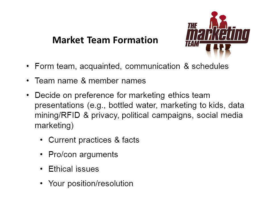 Market Team Formation Form team, acquainted, communication & schedules
