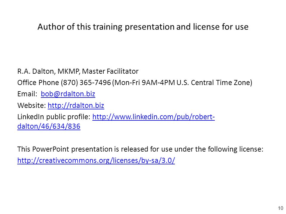 Author of this training presentation and license for use