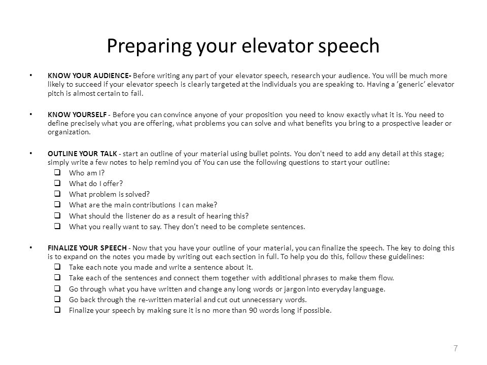 Preparing your elevator speech