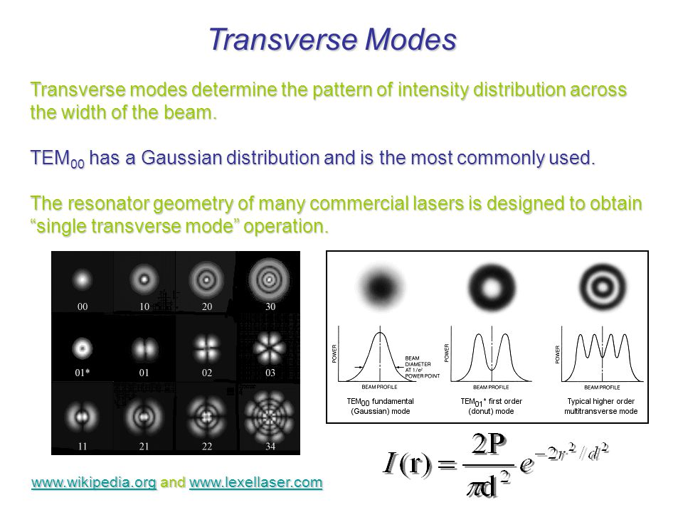 Transverse Modes Transverse modes determine the pattern of intensity distribution across the width of the beam.