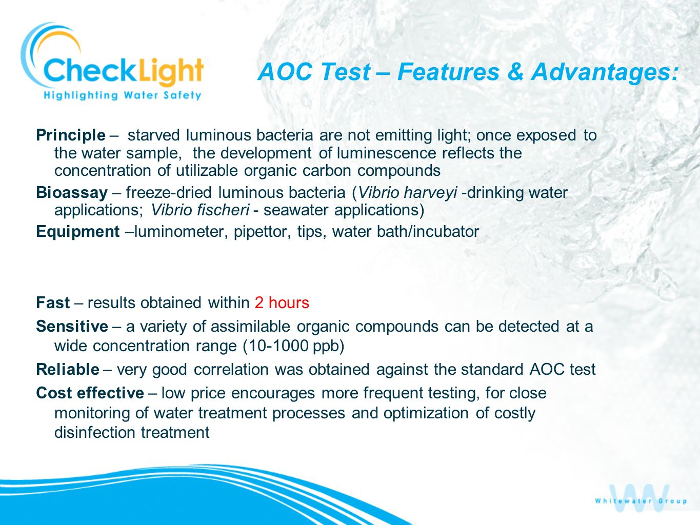 AOC Test – Features & Advantages: