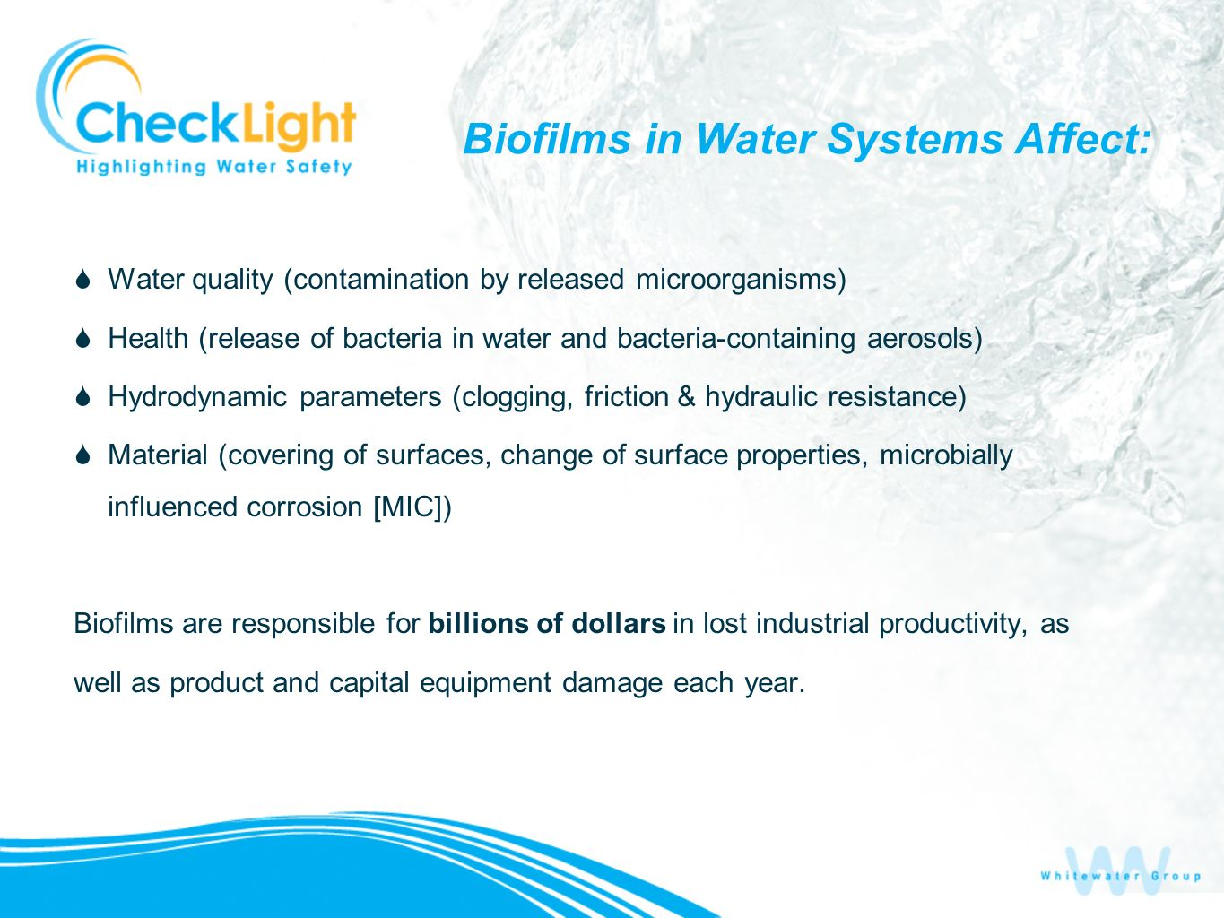 Biofilms in Water Systems Affect: