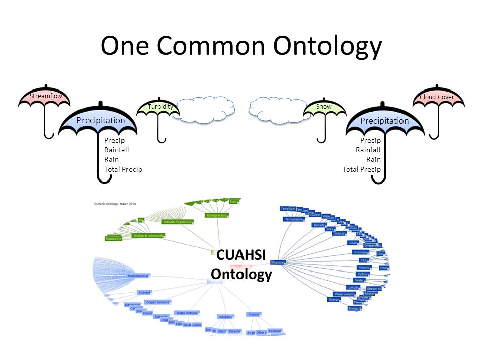One Common Ontology CUAHSI Ontology Precipitation Precip Rainfall Rain