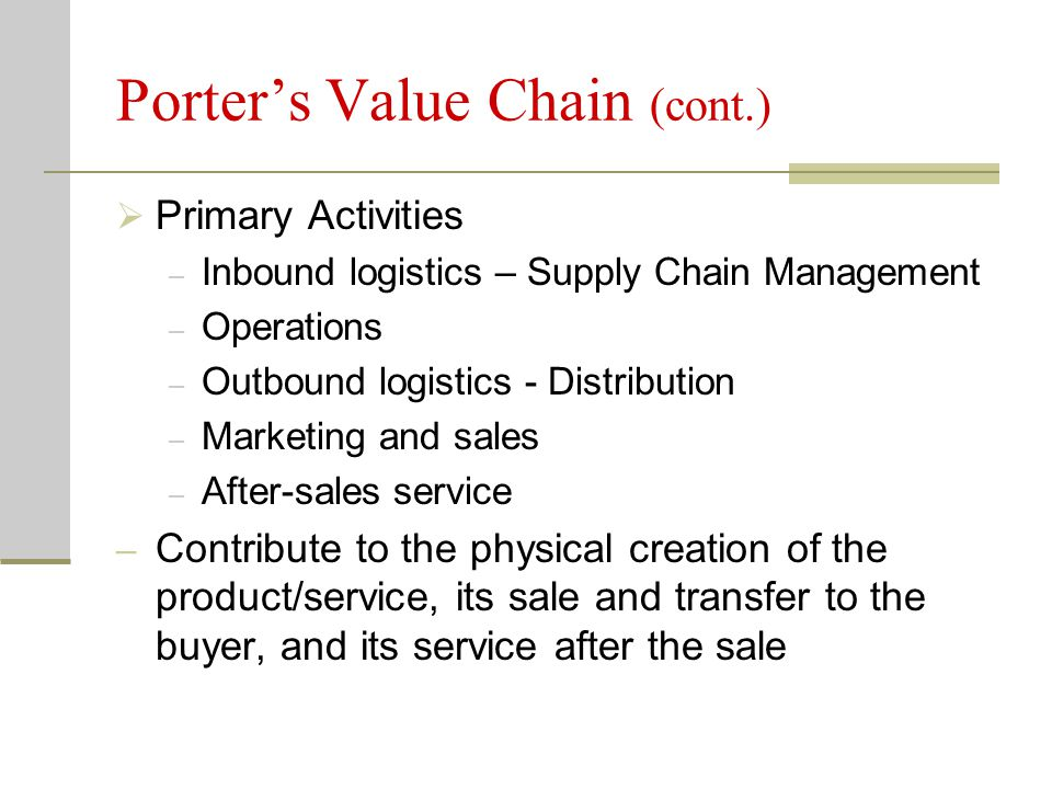 Porter's Value Chain (cont.)