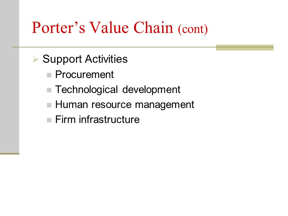 Porter's Value Chain (cont)