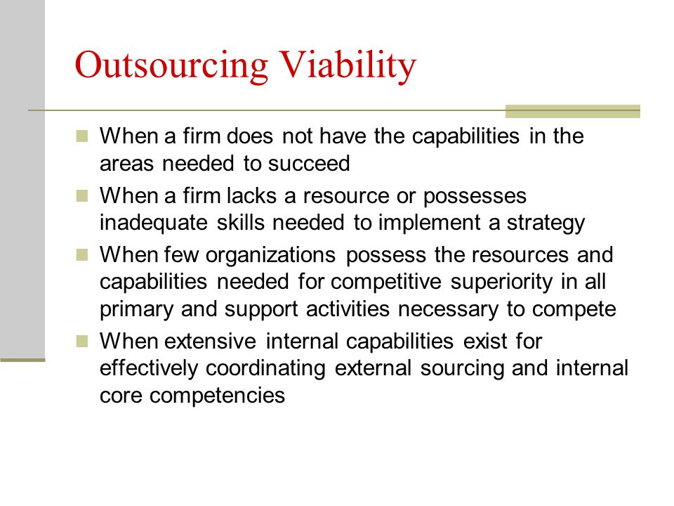 Outsourcing Viability