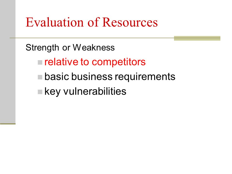 Evaluation of Resources