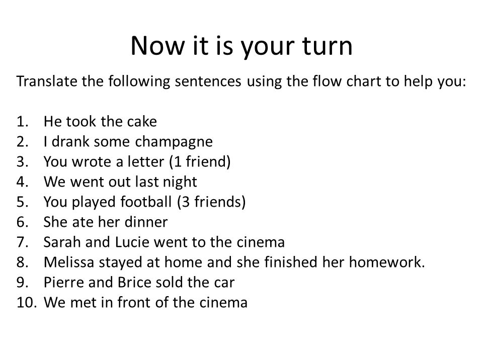 Now it is your turn Translate the following sentences using the flow chart to help you: He took the cake.