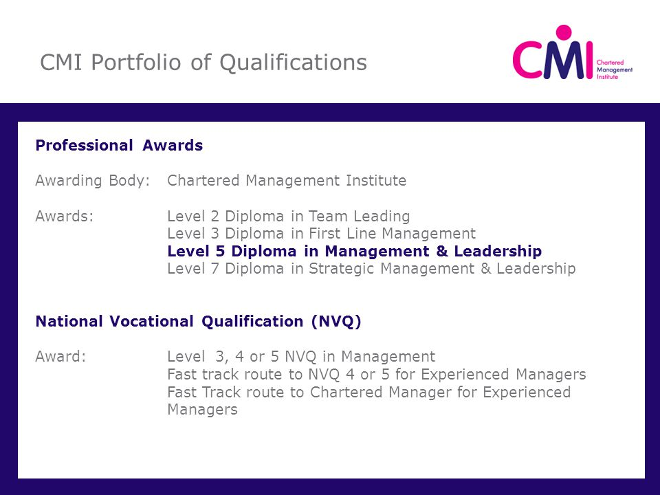 CMI Portfolio of Qualifications