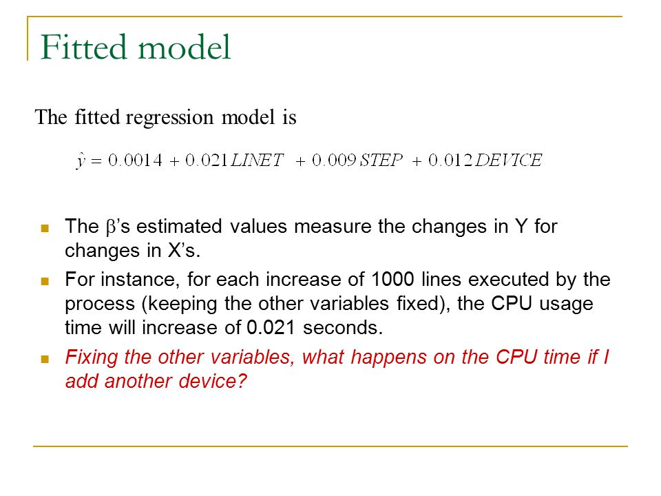 Fitted model The fitted regression model is