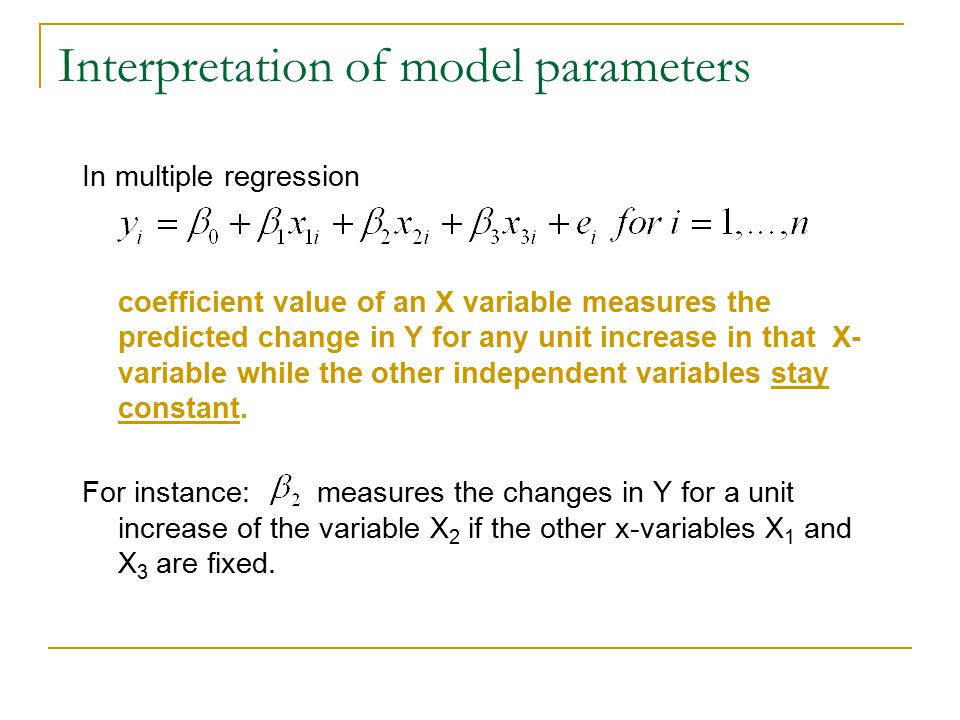 Interpretation of model parameters