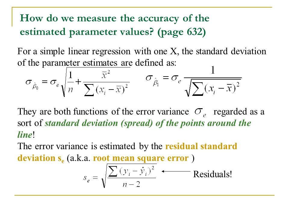 How do we measure the accuracy of the estimated parameter values