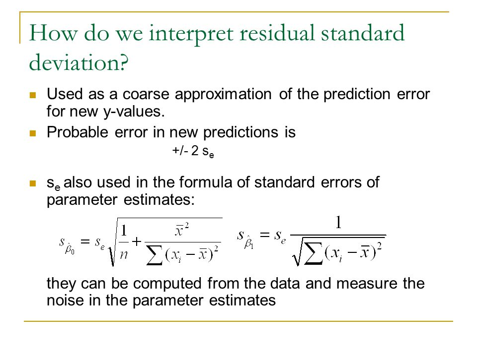How do we interpret residual standard deviation