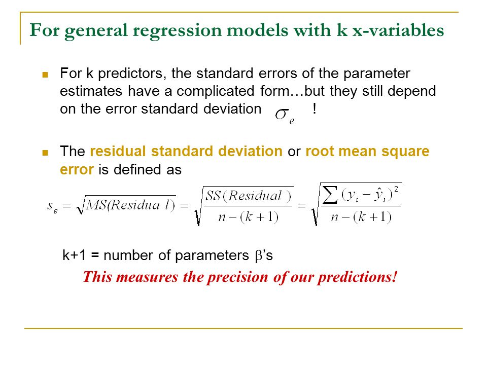 For general regression models with k x-variables