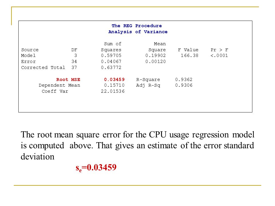 The REG Procedure Analysis of Variance. Sum of Mean. Source DF Squares Square F Value Pr > F.