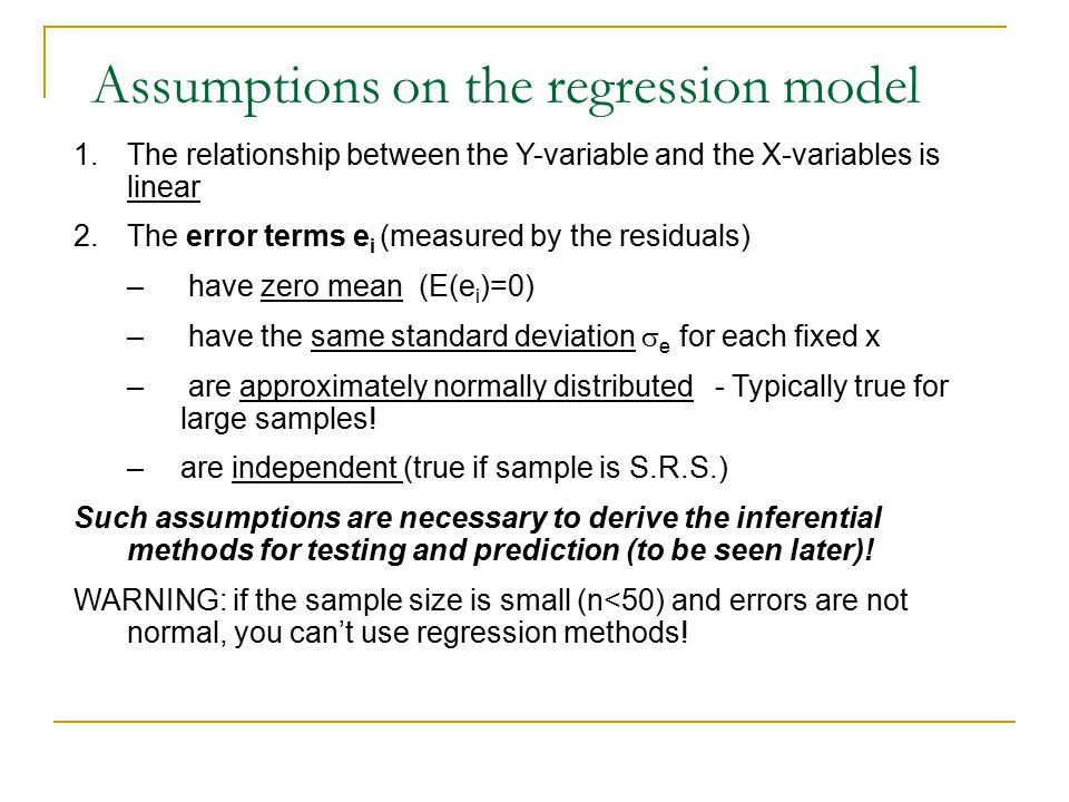 Assumptions on the regression model