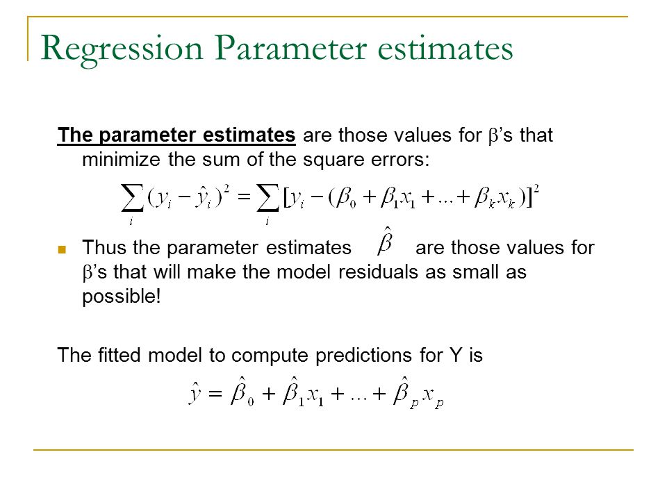 Regression Parameter estimates