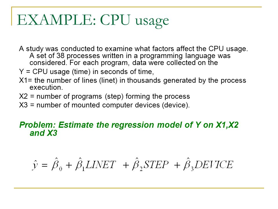 EXAMPLE: CPU usage