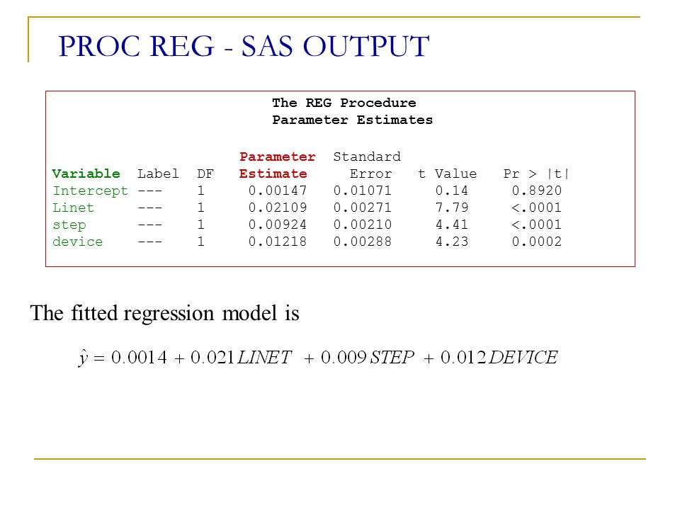 The REG Procedure Parameter Estimates
