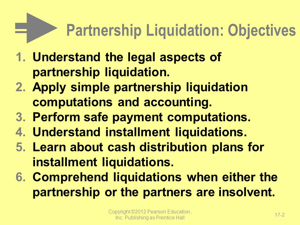 Partnership Liquidation: Objectives
