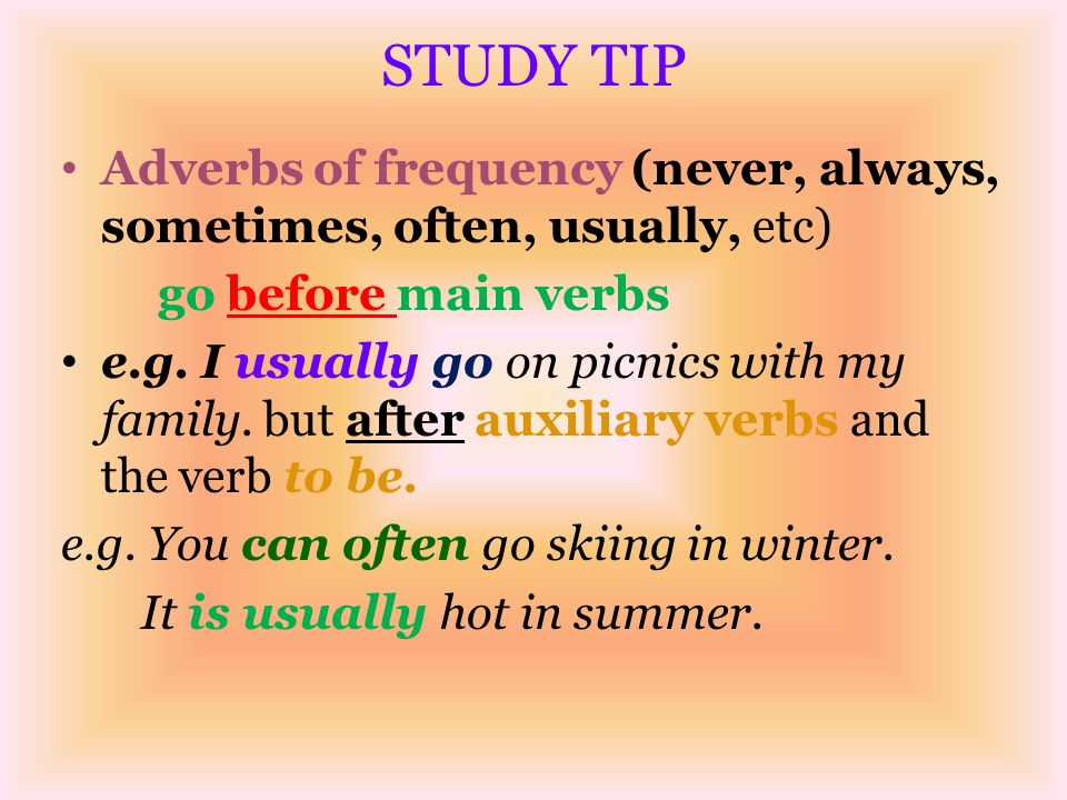 STUDY TIP Adverbs of frequency (never, always, sometimes, often, usually, etc) go before main verbs.