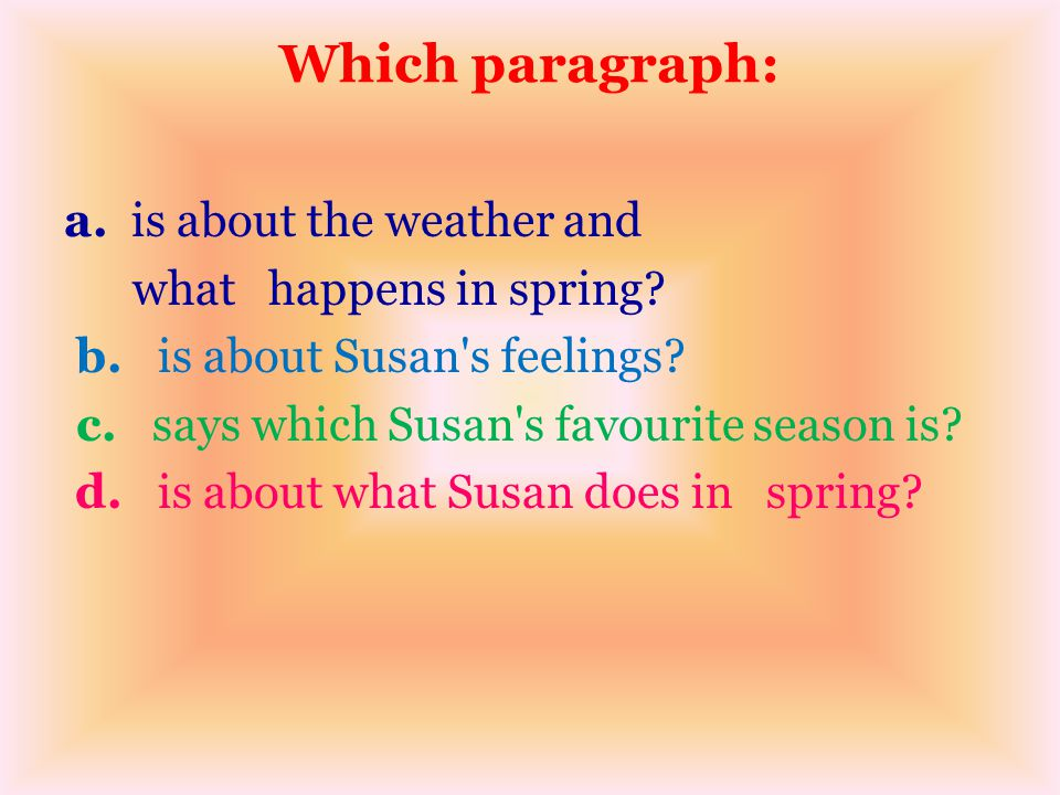 Which paragraph: a. is about the weather and what happens in spring