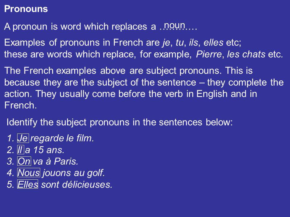Pronouns A pronoun is word which replaces a ………… noun. Examples of pronouns in French are je, tu, ils, elles etc;