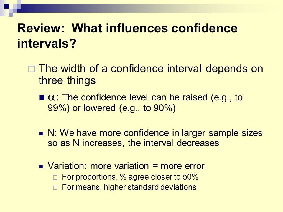 Review: What influences confidence intervals