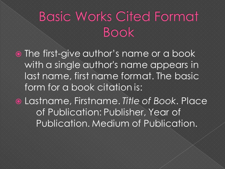 Basic Works Cited Format Book