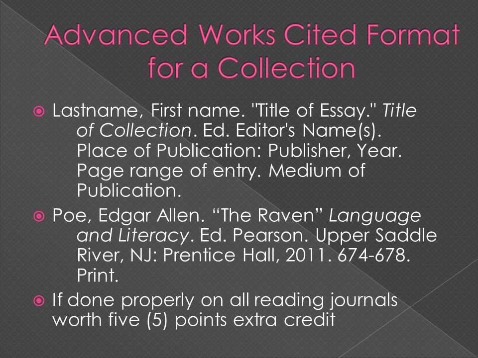 Advanced Works Cited Format for a Collection