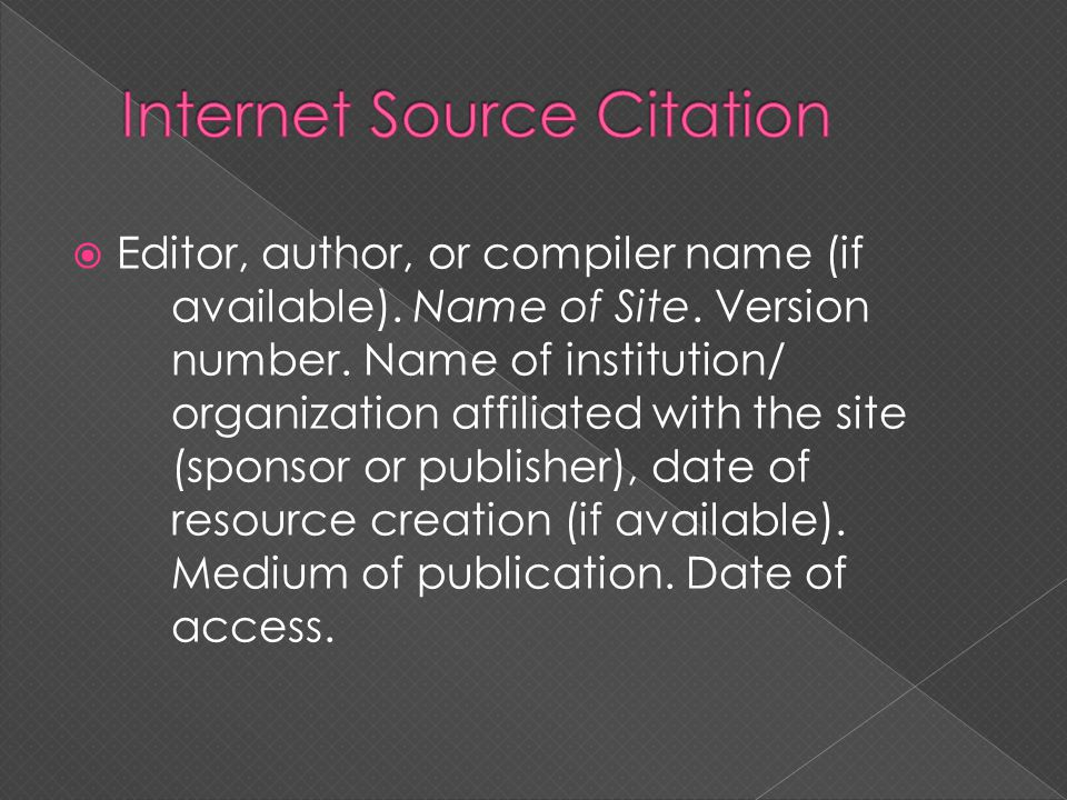 Internet Source Citation