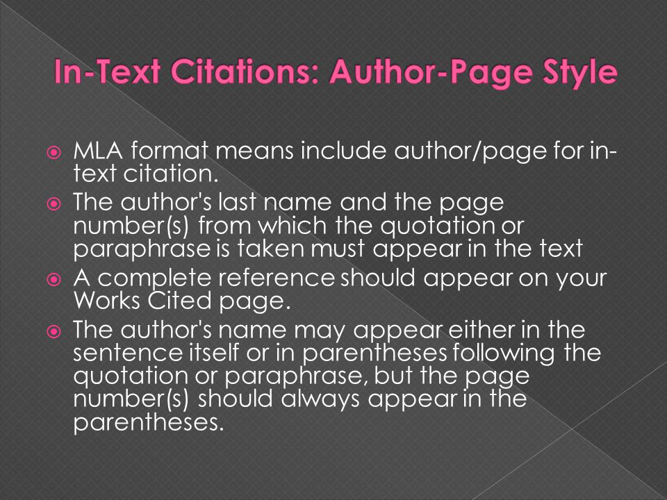In-Text Citations: Author-Page Style