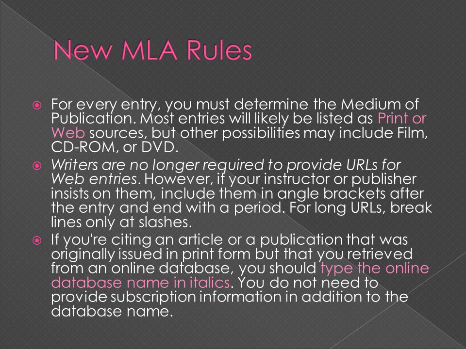 New MLA Rules