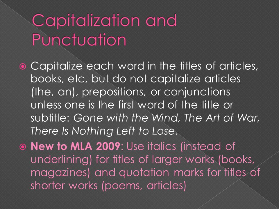 Capitalization and Punctuation