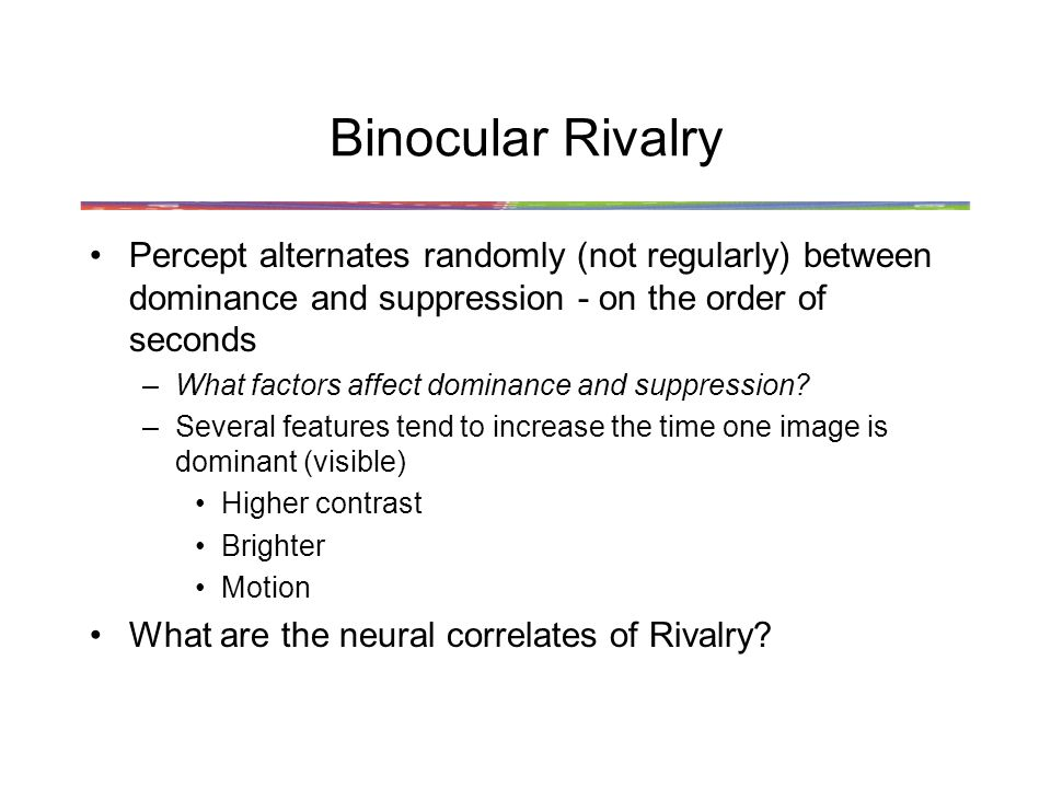 Binocular Rivalry Percept alternates randomly (not regularly) between dominance and suppression - on the order of seconds.