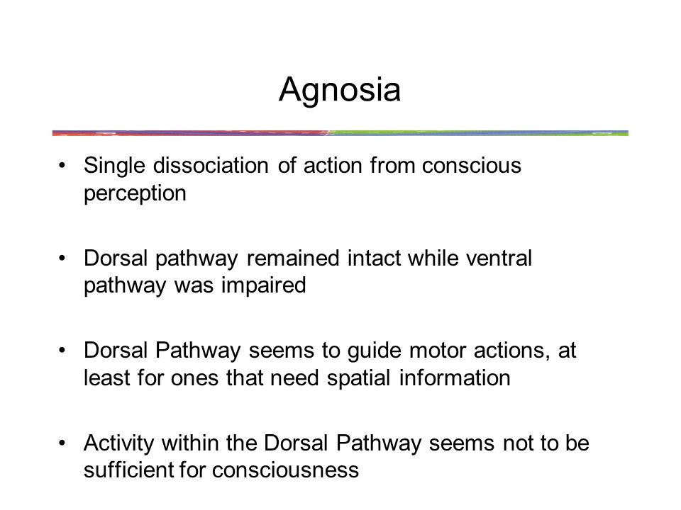 Agnosia Single dissociation of action from conscious perception
