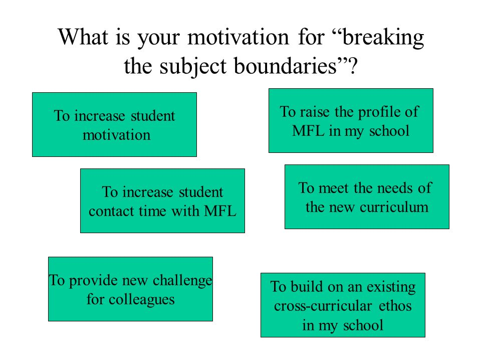 What is your motivation for breaking the subject boundaries
